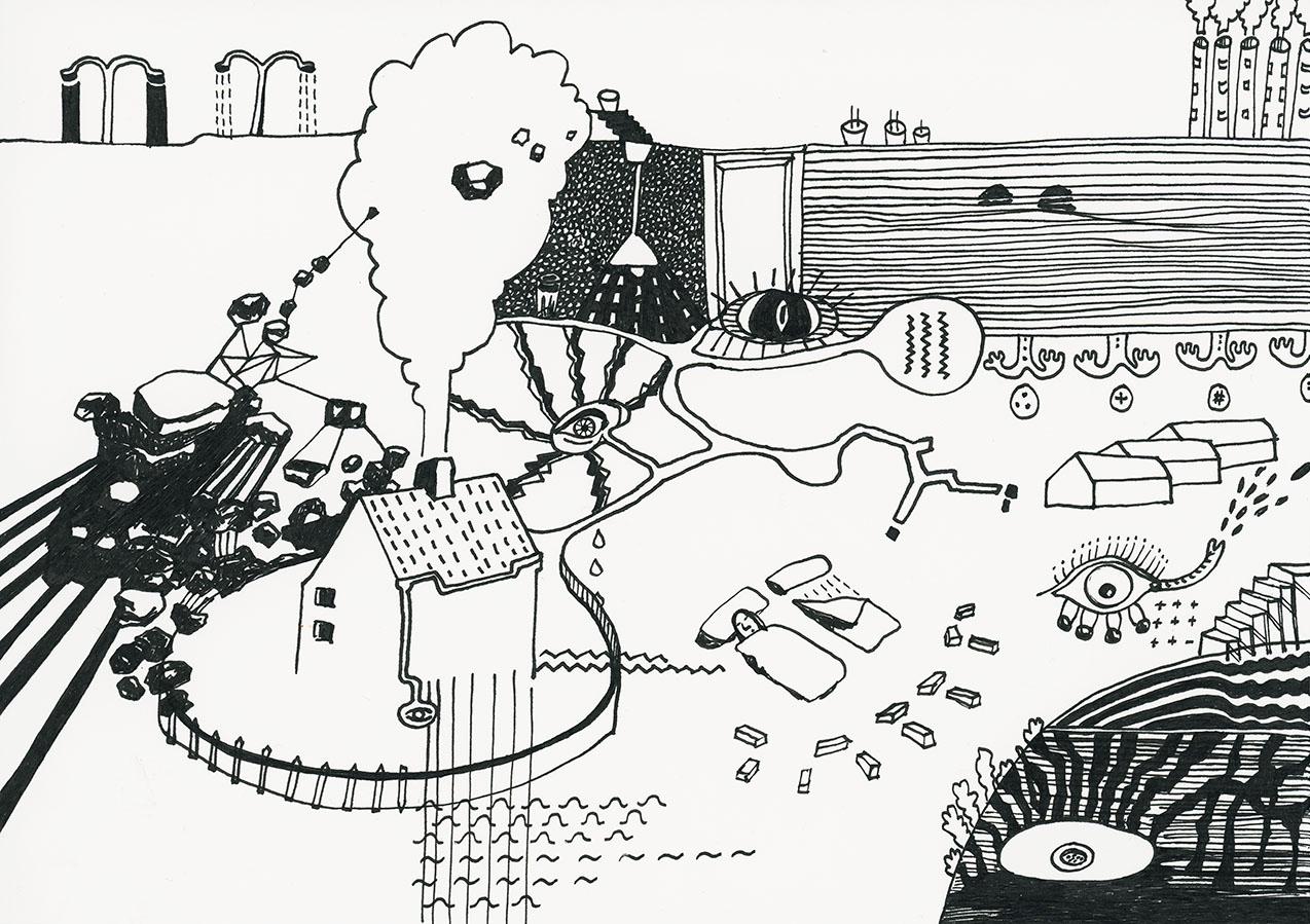 Eine schwarz-weiße Zeichnung einer Gedankenwelt mit Häusern, Steinen, Interieur und unterschiedlichen Augen.